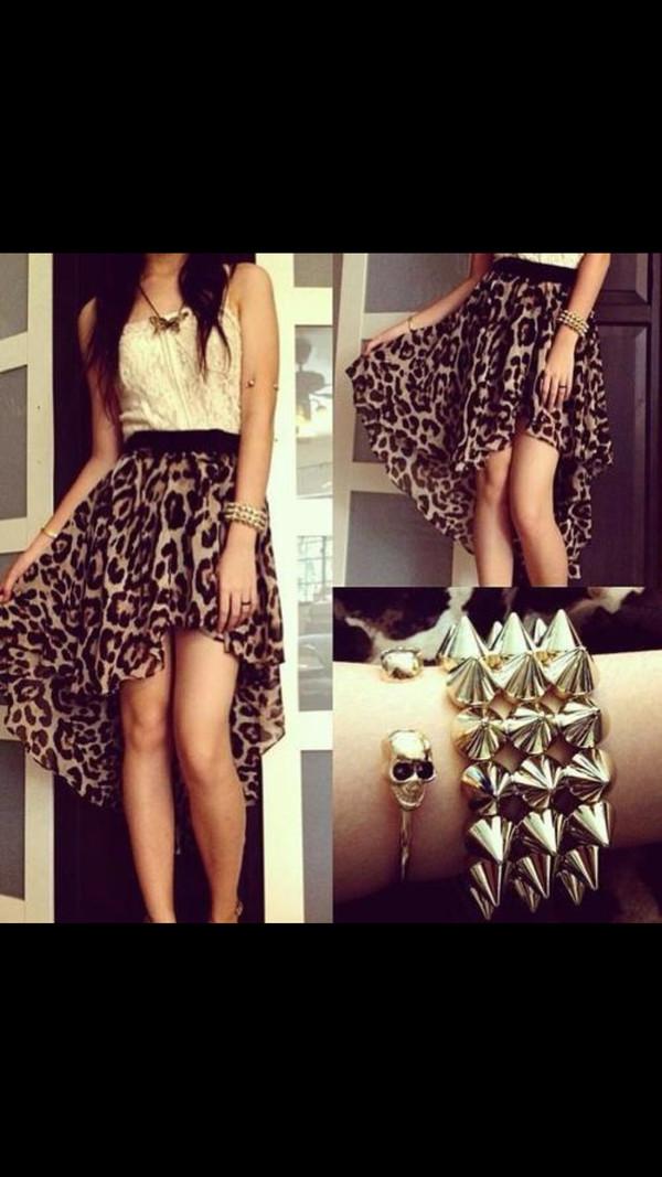 dress lovely leopard print studs white blouse shirt