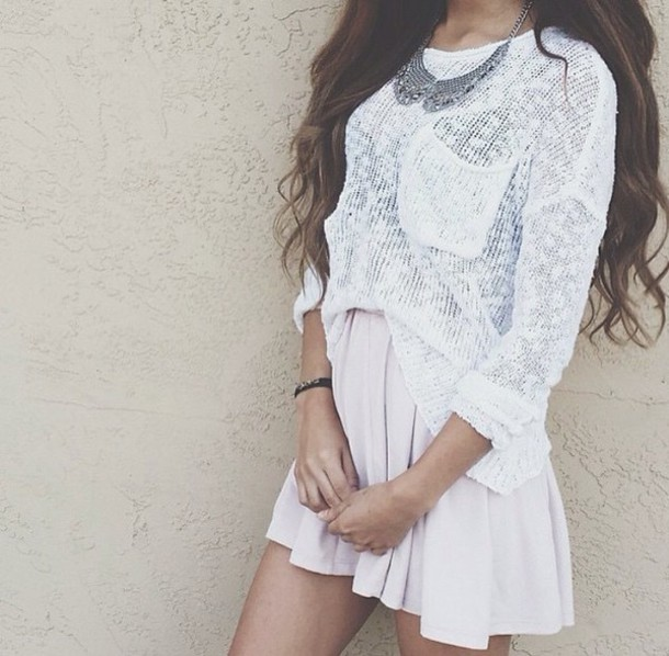 shirt girly skirt top necklace