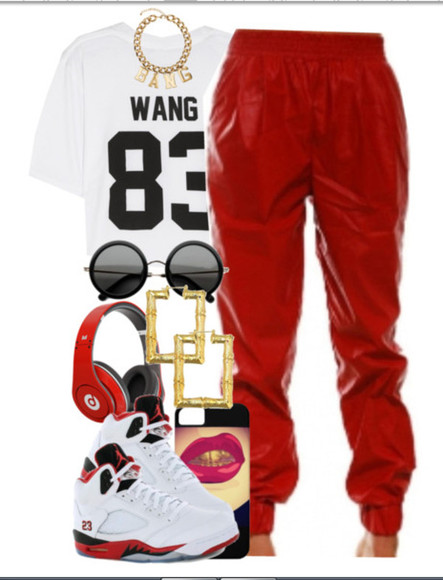 pants red pants shoes shirt white crop top jordans
