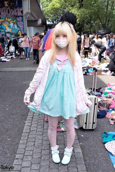 mask shoes cute dress lolita sweet lolita japanese fairy kei pastel sweet sweater girly stockings leggings knee high socks flats tokyo everything outfit tights kawaii