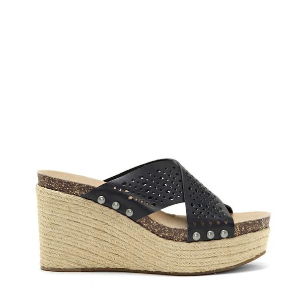 Lucky Brand Neeka2 Wedge Sandal - Black-7.5