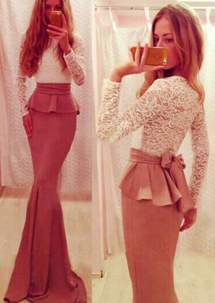 Fashion cute lace long dress