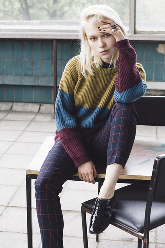 lena's perfection blogger pants fall outfits fall colors platinum hair all saints grid knitted sweater patent shoes lace-up shoes