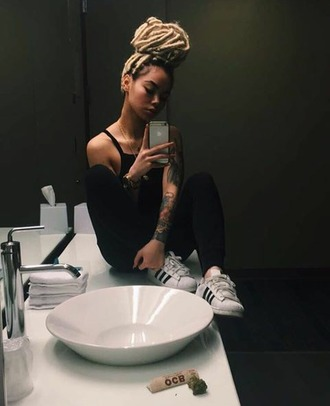 shoes high4this mayleen black outfit black top black pants black and white superstars adidas faux fur summer outfits wavy goddess mirrior selfies black x white x gold $$$$