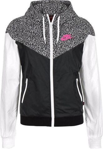 coat nike jacket pink black cheetah