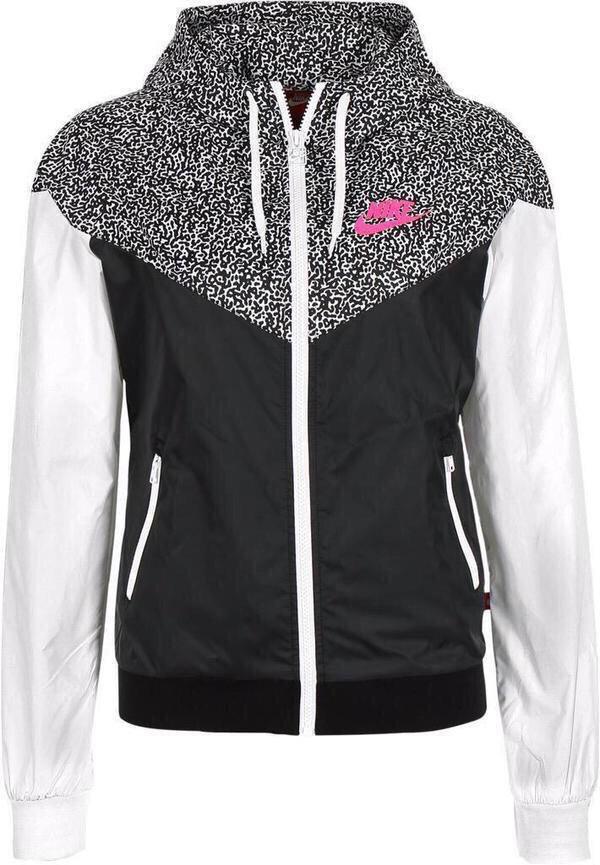 coat nike jacket pink black leopard print