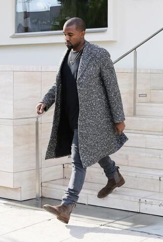 coat grey sweatpants boots pants menswear