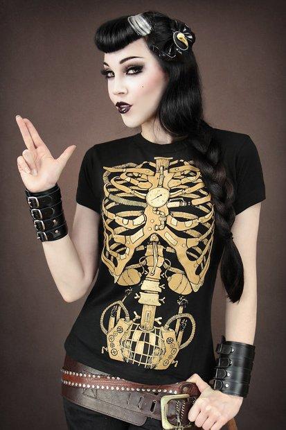 Steampunk mechanical skeleton ladies black t