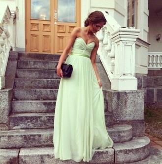 dress green prom long dress mint ribbon