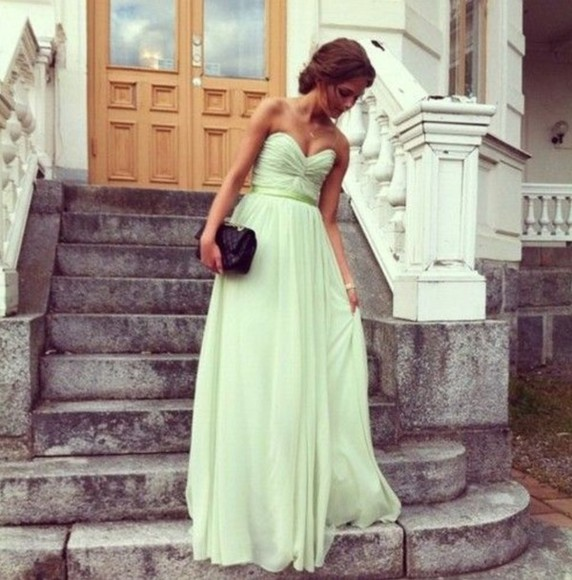 ribbon dress green prom long dress mint green