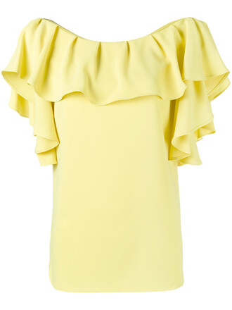 top ruffle women yellow orange