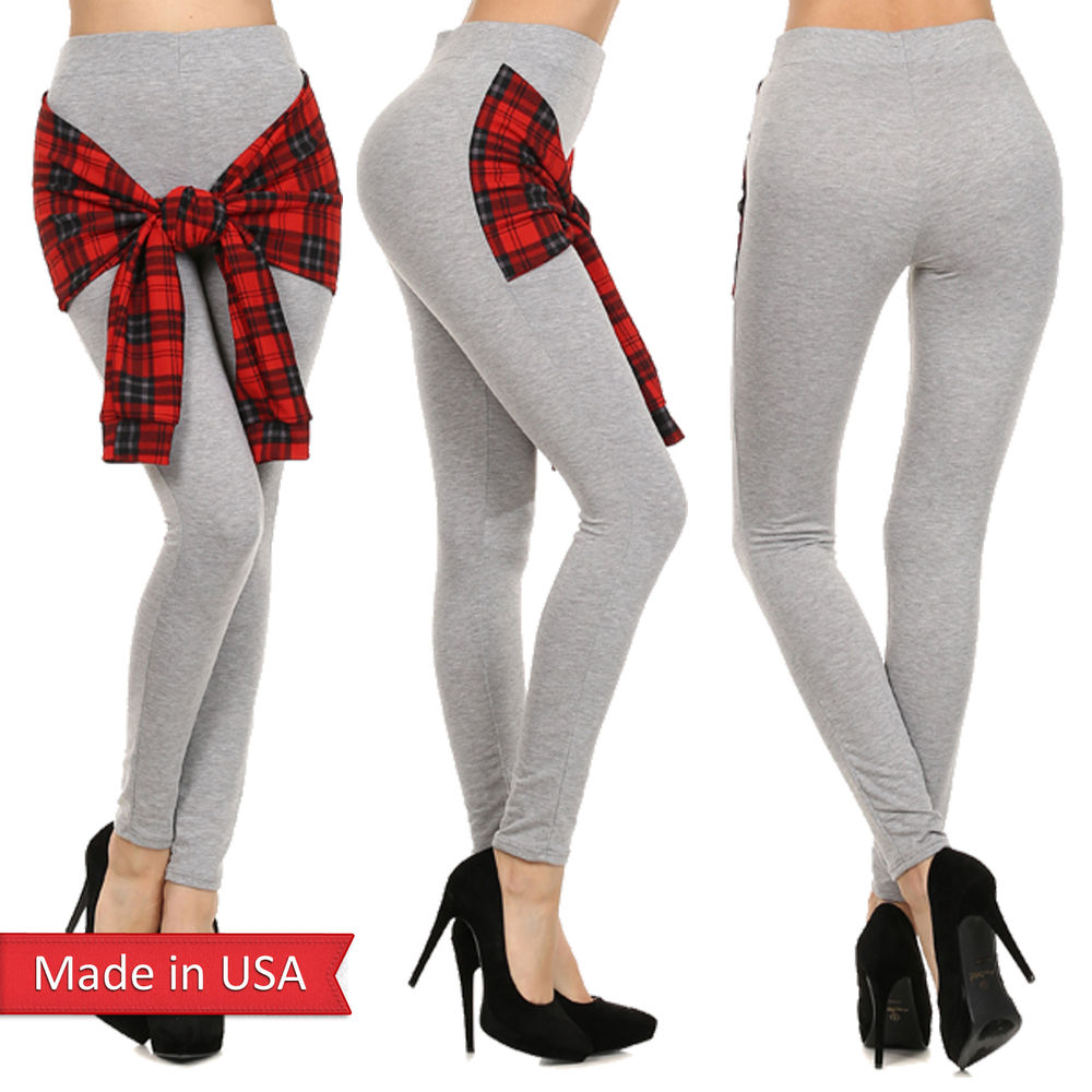New women cute winter holiday chic plaid check tie front soft leggings pants usa