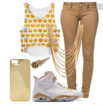 jumpsuit jeans jordans necklace emoji shirt crop tops gold casual formal