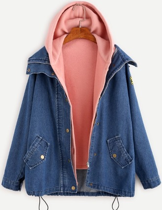 jacket girl girly girly wishlist denim denim jacket blue hoodie pink