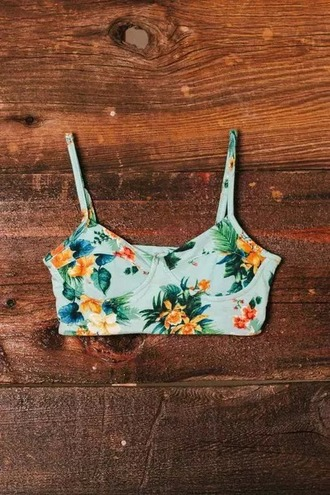 swimwear floral swimwear blue cute grunge vintage