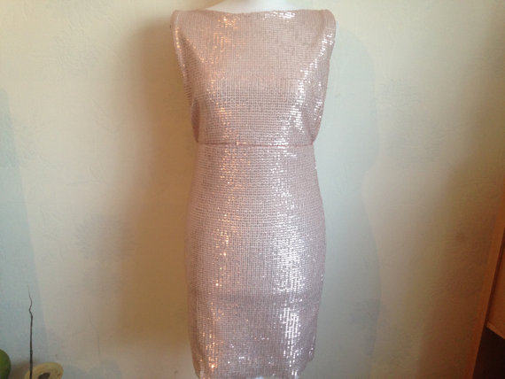 Stunning strechy sequin low back handmade dress