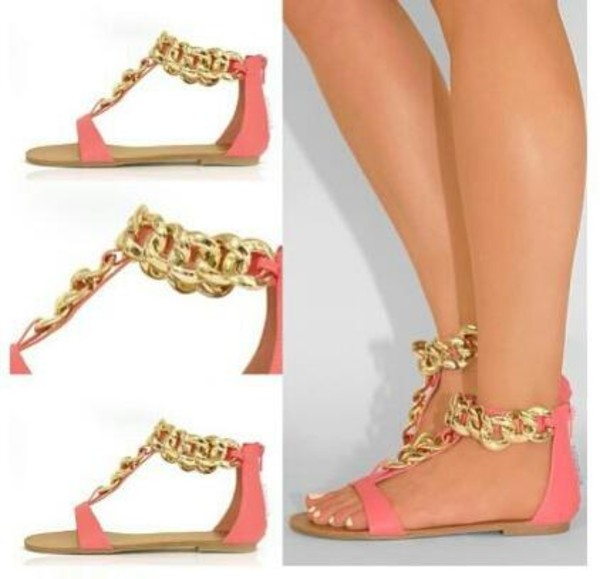 shoes sandals gold chain