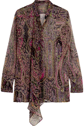 blouse draped print silk paisley black top