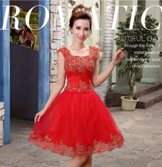 dress prom dress red dress short dress pretty dress red lace lace dress prom homecoming formal
