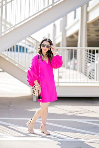 styleofsam blogger dress jewels shoes bag sunglasses shoulder bag chanel bag pink dress ankle boots fall outfits mini dress