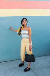 top,crop tops,stripes,platform shoes,bag,pants