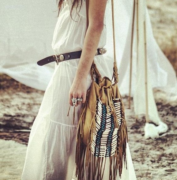fringes white bag boho boho style brown beads beaded bead nice beautiful daily morning