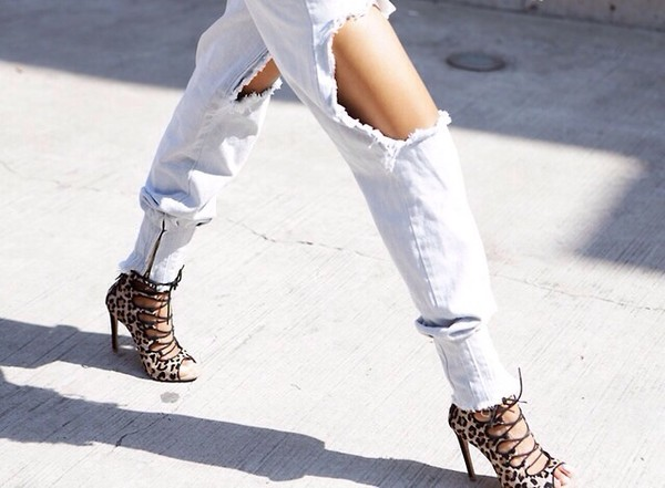 shoes high heels lace up heels leopard print jeans