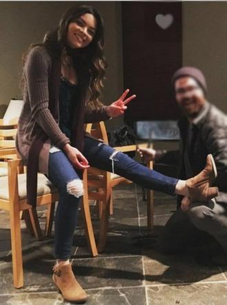 jeans shoes blue brown scarlett byrne denim sweater