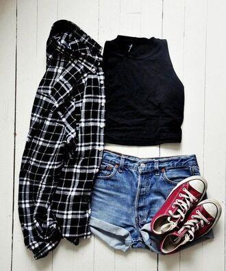jacket flannel shirt black crop top shorts converse shirt