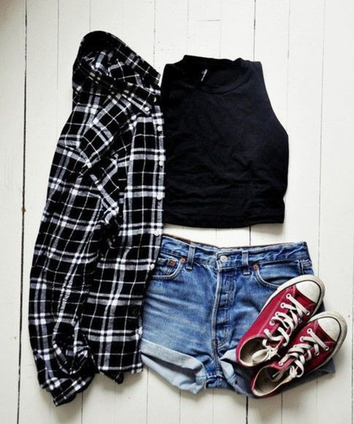 jacket flannel shirt black crop top shorts converse shirt