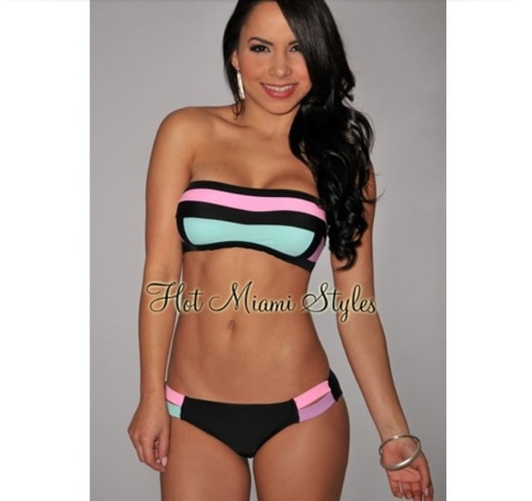 swimwear bandeau bikini stripes black pastel