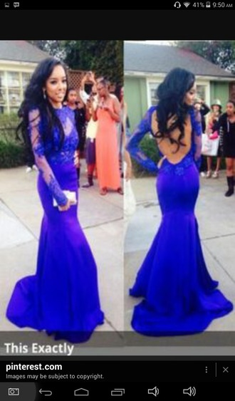 dress blue dress blue prom dress lace dress backless prom dress mermaid prom dress long prom dress long sleeve dress