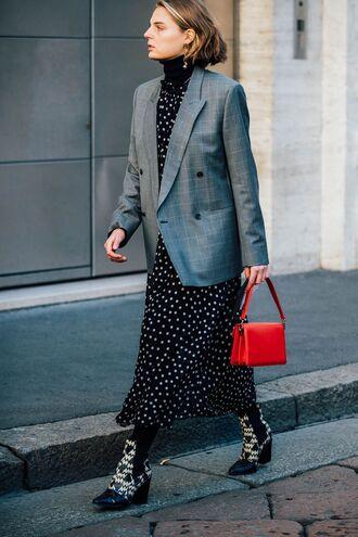 dress tumblr maxi dress printed dress polka dots tights opaque tights boots printed boots mid heel boots blazer grey blazer bag red bag
