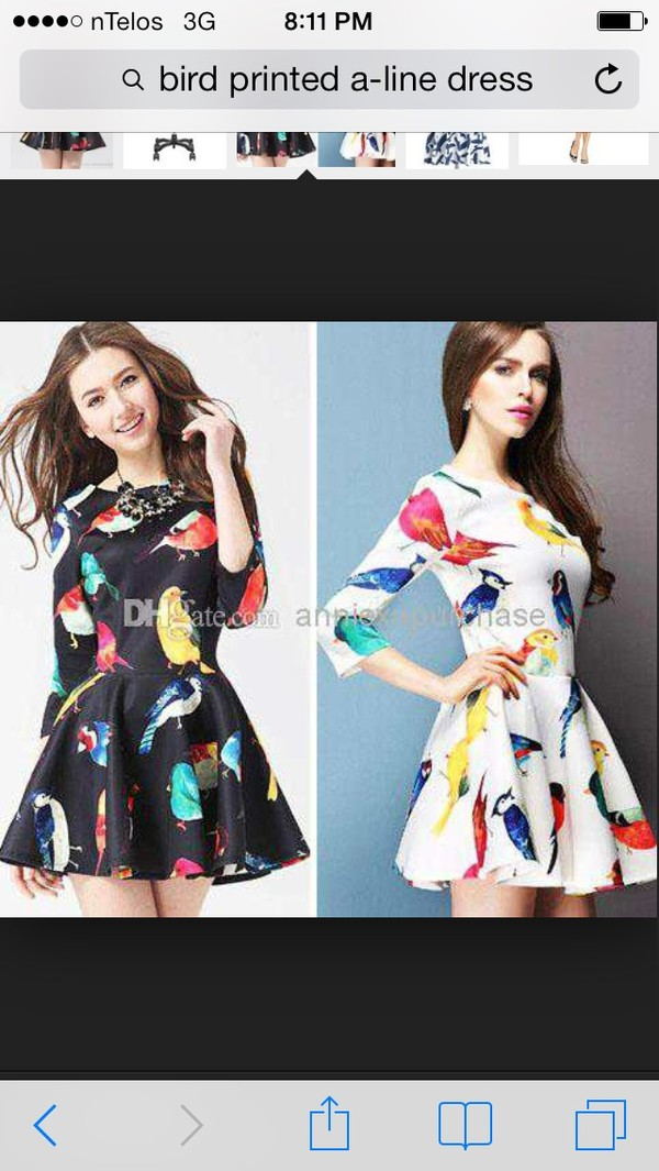 dress bird printed dress