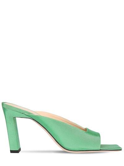 WANDLER 85mm Satin Mules Green