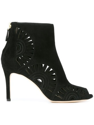 cut-out booties black shoes