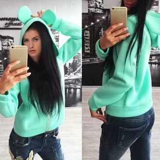 sweater mint long sleeves fashion style trendy cute hooded long sleeve solid color rabbit ear hoodie for women mickey mouse cool rose wholesale-dec