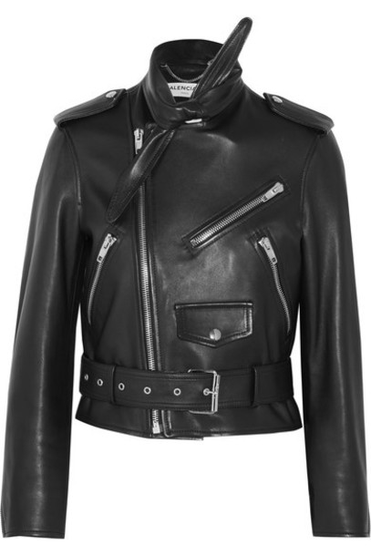 Balenciaga jacket biker jacket leather black