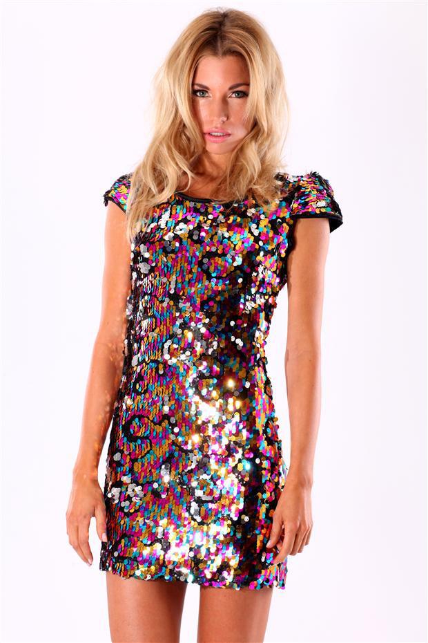 Multi Coloured Sequin Dress   Fast Fashion