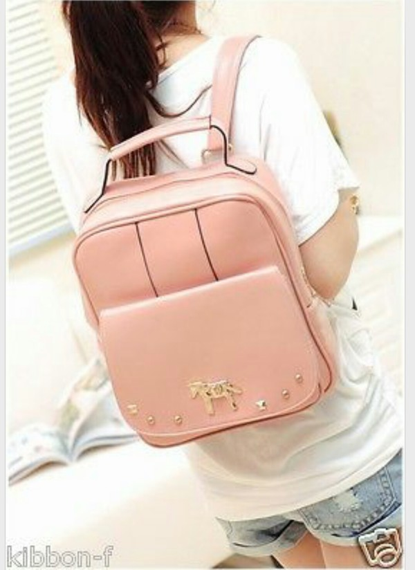 bag pastel pink backpack beibaobao
