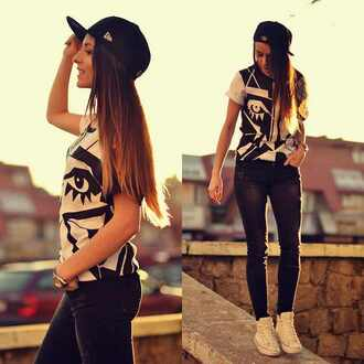 shirt crewneck black white hat snapback jeans high top sneakers