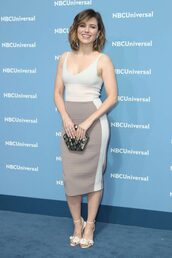 dress,sophia bush,sandals,midi dress,bodycon dress,sandal heels,clutch,shoes,bag,metallic clutch