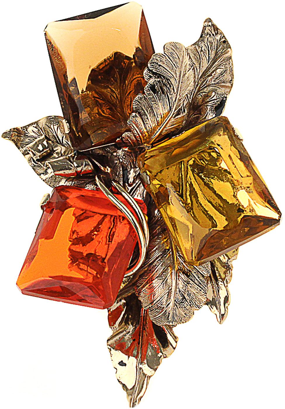 Брошь ручной работы с разноцветными кристаллами