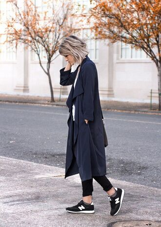 shoes sneakers black sneakers low top sneakers new balance coat long coat navy coat duster coat fall outfits