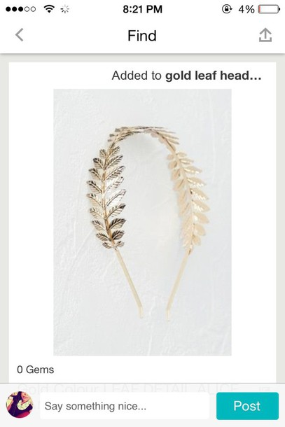 hair accessory gold leaf head