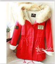 2014 new fashion winter women fashion fur hooded zipper embellished fleece inside military casual coat outerwear