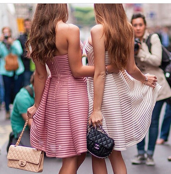 striped bag striped dress pink dress friends dress girls fun happy beige dress beige summer dress chanel bag chanel