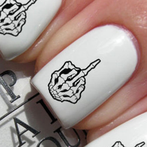Nail Wraps Nail Art Water Transfers Decals Middle Finger Skeleton