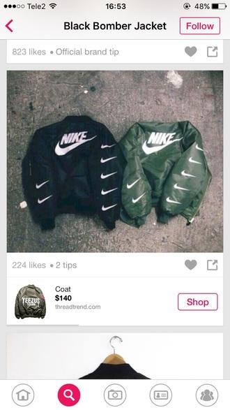 coat nikecoat green blak white nike nike sportswear nike bomber jacket