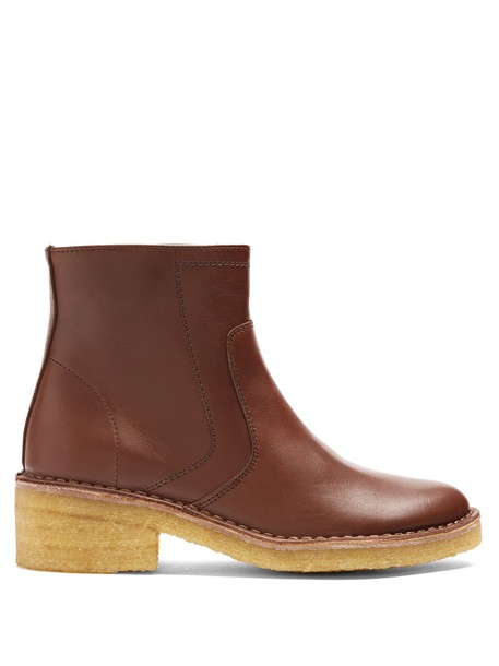 A.P.C. leather ankle boots ankle boots leather brown shoes